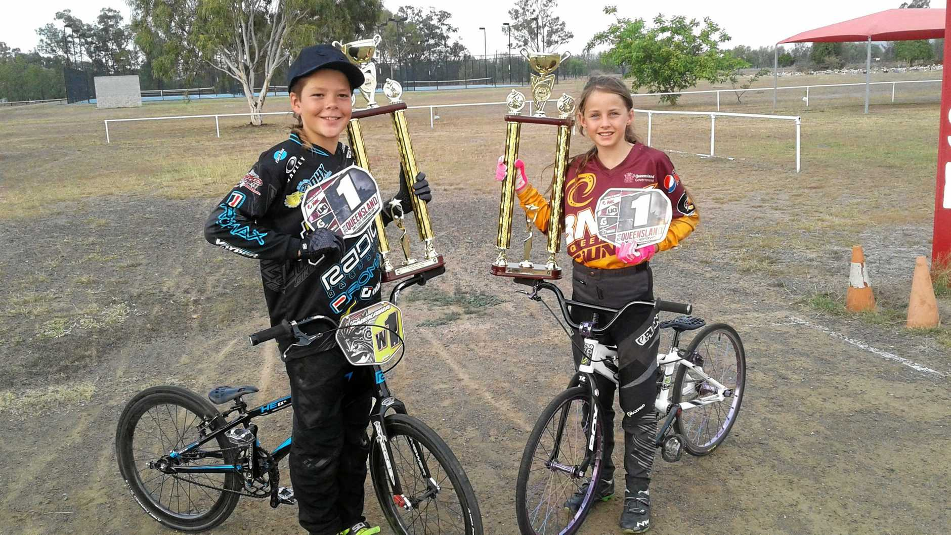 DOING WELL ON WHEELS: Callide Valley BMX Club's Tama Onekawa and Abby Stevens won their state titles at the 2018 LKI BMX Championships in September.