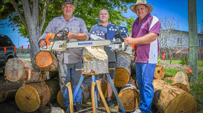 RAISING FUNDS: Brad Dingle, Stuart Andrews and Mitch Brennan are ready for Saturday's woodchop.