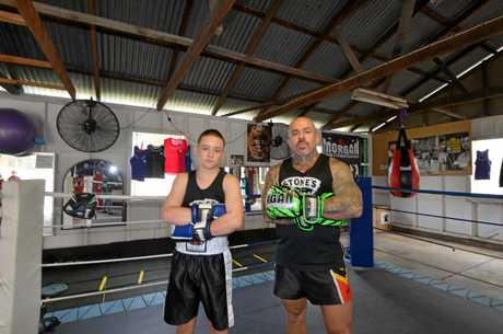 Gympie fighters Jai and Danny Hawkins prepared to take on the challenge at the Brophy Boxing tent.