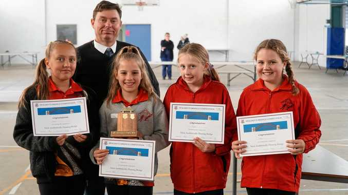 Glen Aplin State School students won the most aesthetically pleasing category of the 2018 Spaghetti Bridge Competition.