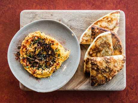 Sweet potato hummus and flat bread at Three Blue Ducks