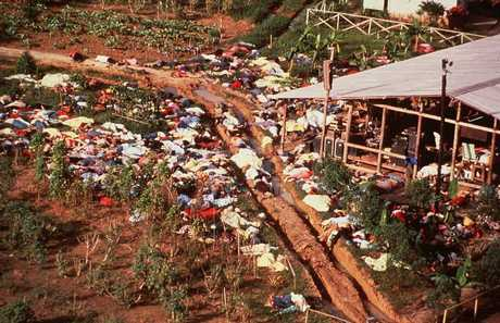 Hundreds of bodies strewn around the Jonestown Commune in Jonestown, Guyana.