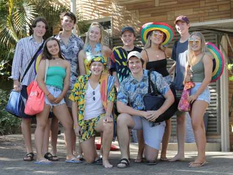 Heading off to Schoolies are (rear, from left) Hannah Underwood, John Siganto, Jacob Scott, Caitlin Laycock, Logan Duval, Charlotte Jensen, Marcus Rehbock and Kelly White, and (front, from left) Madison Cooley and Josh Stanfield. Picture: Mark Cranitch
