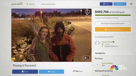 Kate McClure's GoFundMe campaign for Johnny Bobbitt raised more than $US400,000. Picture: Supplied