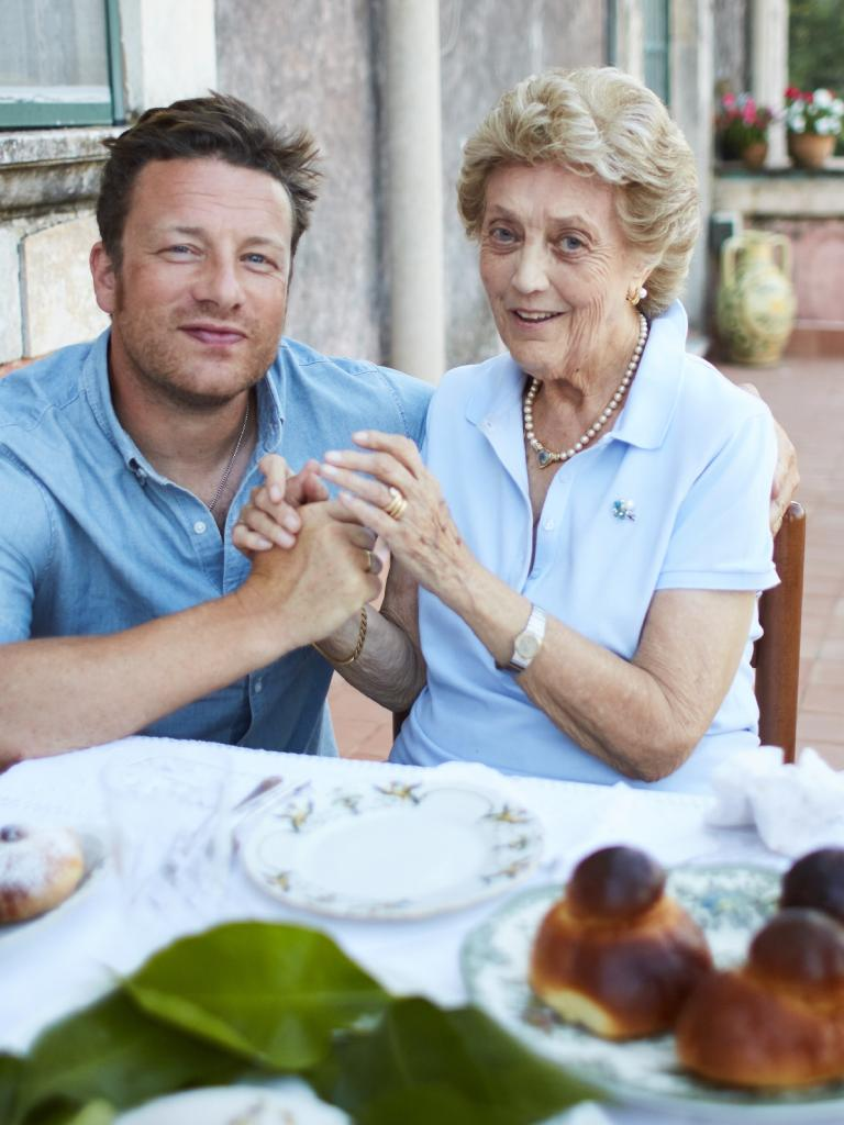 Jamie Oliver with Nonna Marla from the chef's new TV show Jamie And The Nonnas.