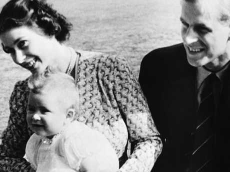 Prince Charles, aged eight months, with his mother Elizabeth and father Philip in 1949. Picture: AP