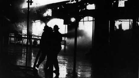 Firemen battle the blaze at the Ghost Train ride on a tragic night in 1979.