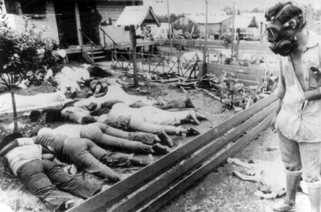 Person wearing gas mask views some of the dead bodies at the scene of mass suicide on November 18, 1978. Most of his followers took poison but some were shot.