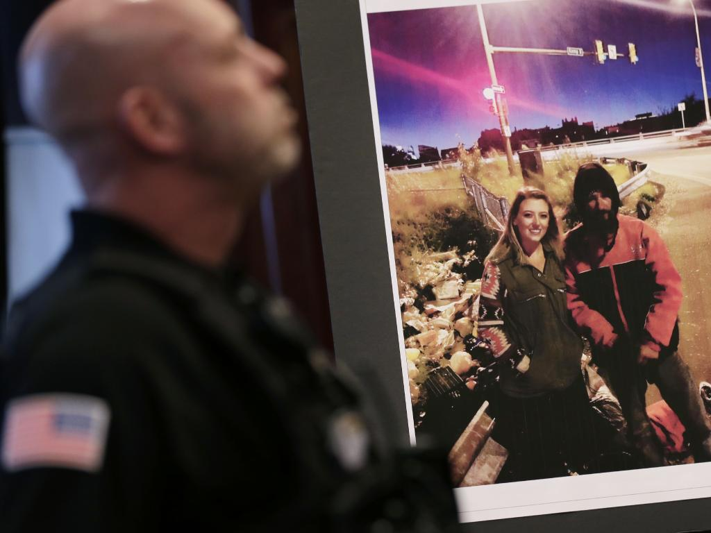 A picture of Kate McClure and Johnny Bobbitt Jr. is displayed during a news conference. Picture: AP