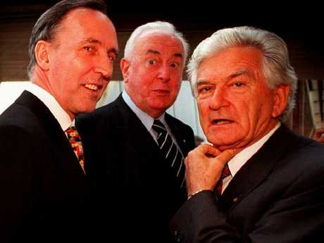 Former Labor prime ministers (from left) Paul Keating, Gough Whitlam and Bob Hawke