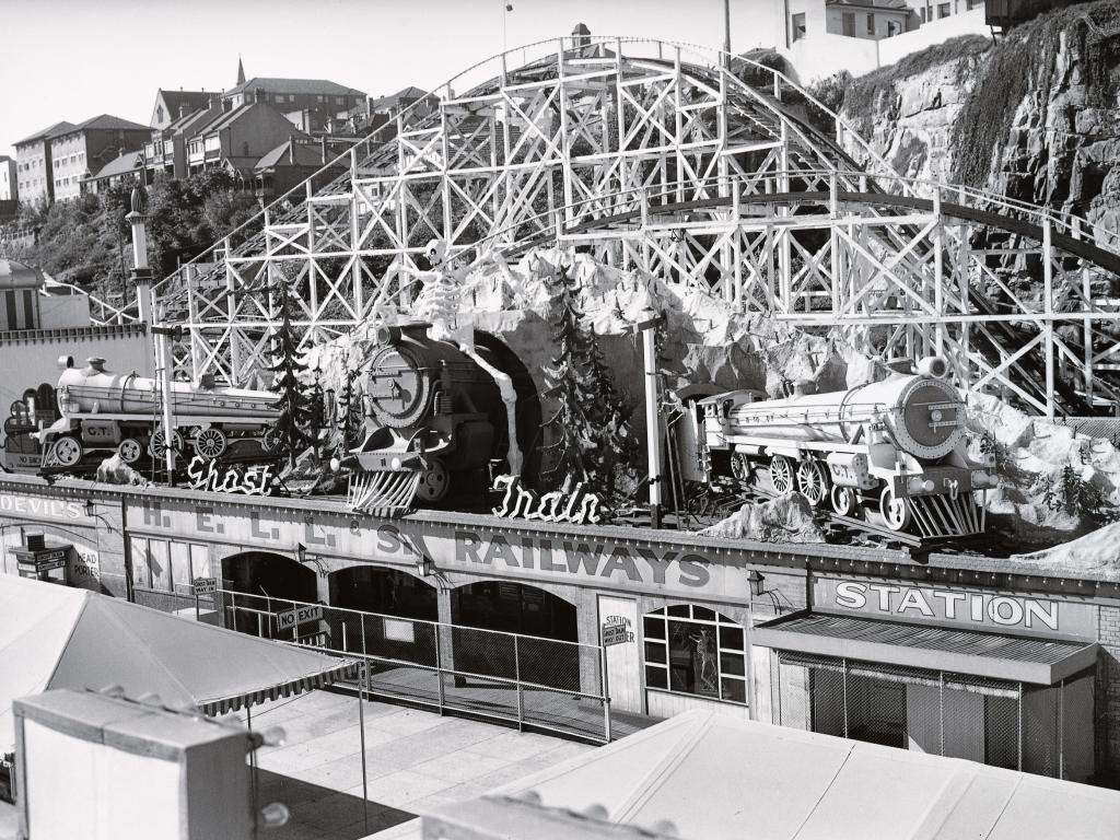 Luna Park's Ghost Train building as it appeared in the 1940s.