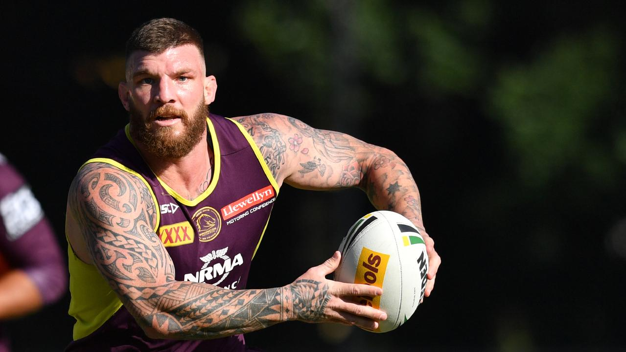 Cowboys recruitment target Josh McGuire at Broncos training earlier this year.
