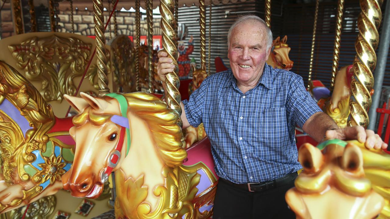 Tony Maloney checks up on a merry-go-round. Picture: Justin Lloyd