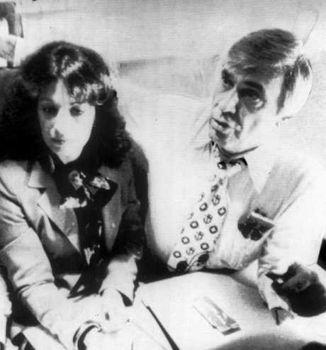 US congressman Leo G. Ryan (right) with his legislative counsel Jackie Speier, en route to Guyana on November 14, 1978, to investigate cult leader Jim Jones. Speier was badly wounded in Guyana, but survived, and in 2008 won Ryan's former seat in Congress.