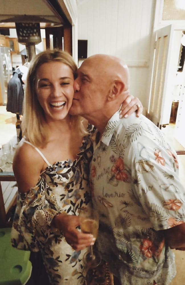 Jasmine Yarbrough with her adored 'Daddy', Bob, at her pre-wedding 'High Tea' in Brisbane last week.
