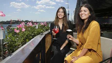 Aurelie Pinar and Chelsea Brown at Smoke Bar in Barangaroo. Picture: Justin Lloyd