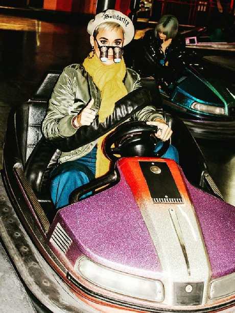 Katy Perry tries a Luna Park dodgem.