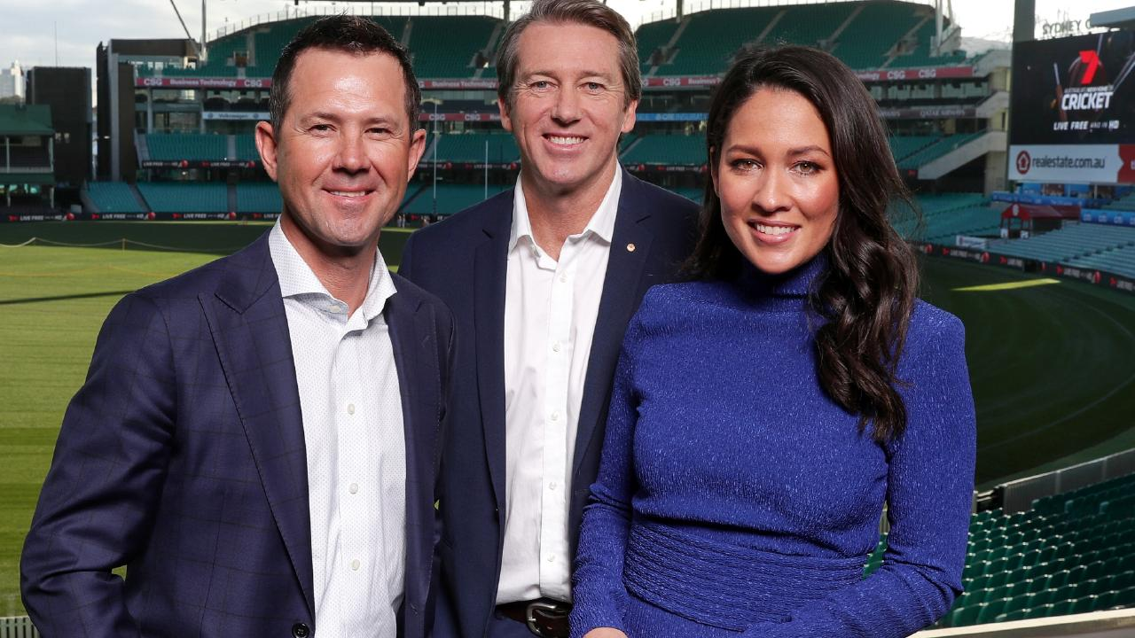 Ricky Ponting, Glenn McGrath and Mel McLaughlin at the Channel 7 cricket launch at the Sydney Cricket Ground.