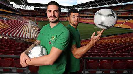 Jamie Maclaren and Mathew Ryan at Suncorp Stadium. Picture: Annette Dew