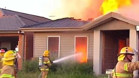 Brave neighbours ran to the assistance of the mother and her nine children. Picture: 9 News
