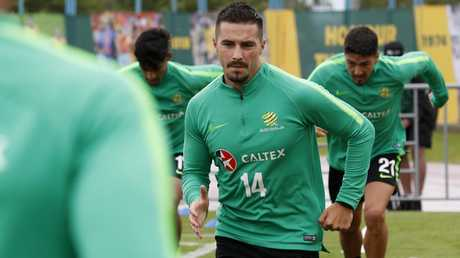 Jamie Maclaren training before the Socceroos' World Cup match against France. Picture: Toby Zerna