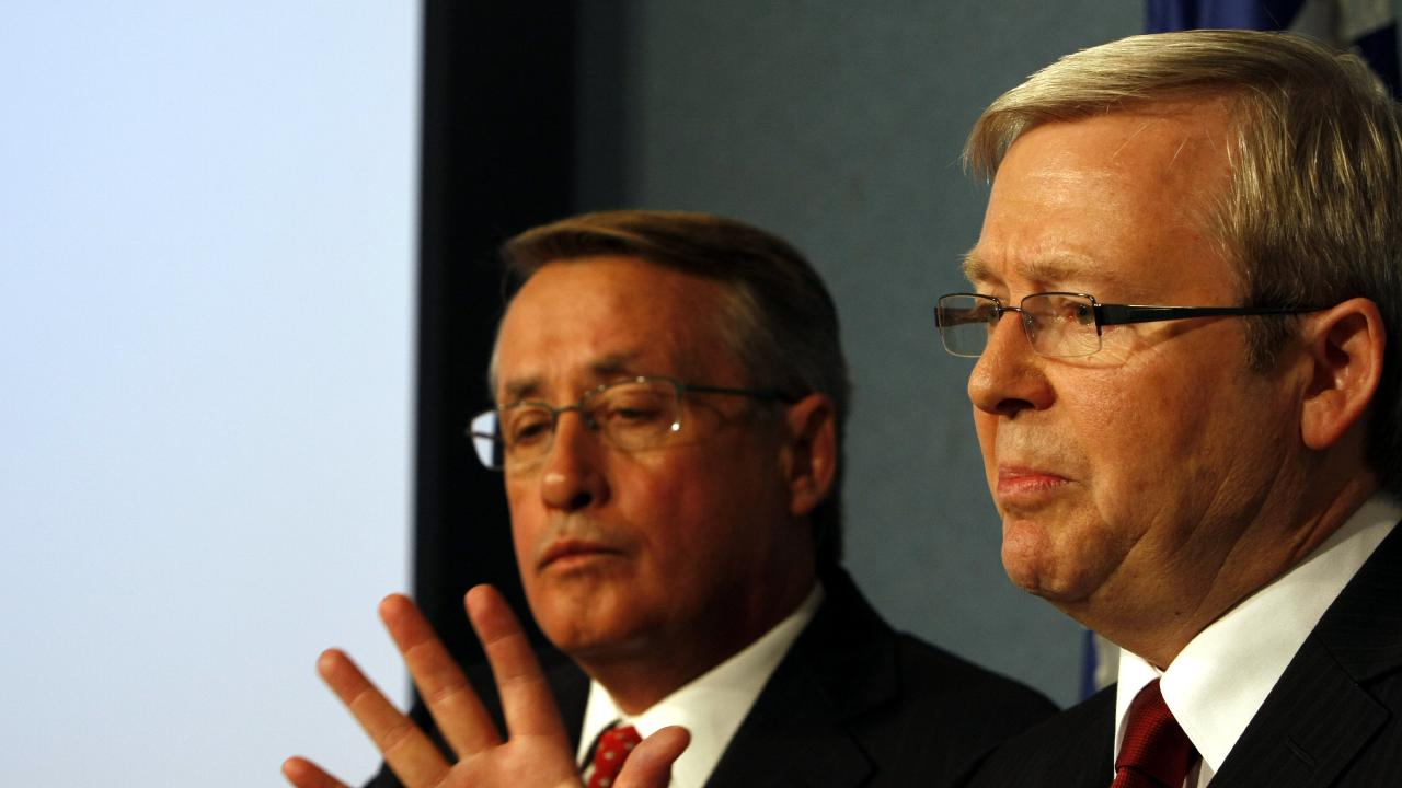 Prime minister Kevin Rudd (right) and his then treasurer Wayne Swan