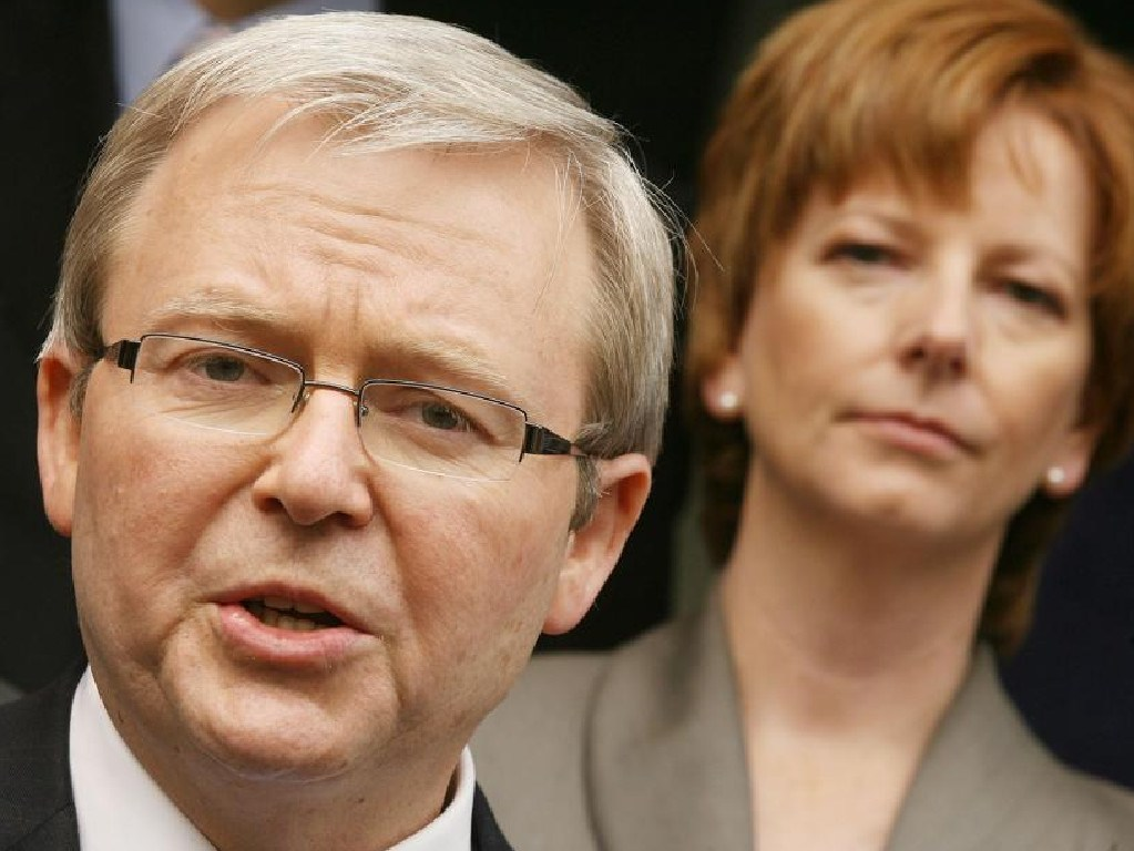 Rudd says he saw 'liquid hatred' in the eyes of Julia Gillard (right) and Swan.