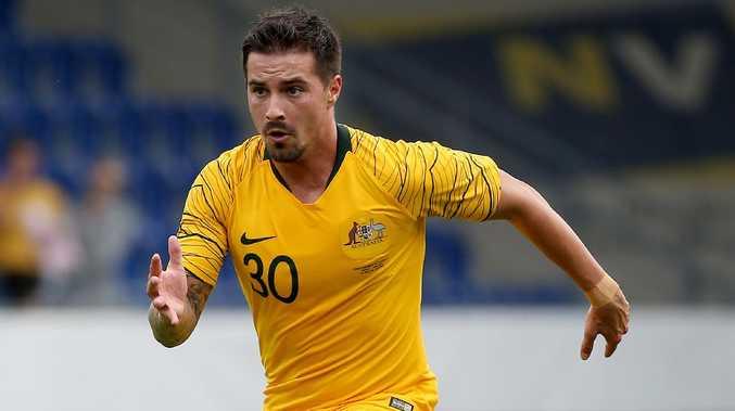 Jamie Maclaren in action for the Socceroos against Czech Republic. Picture: Toby Zerna