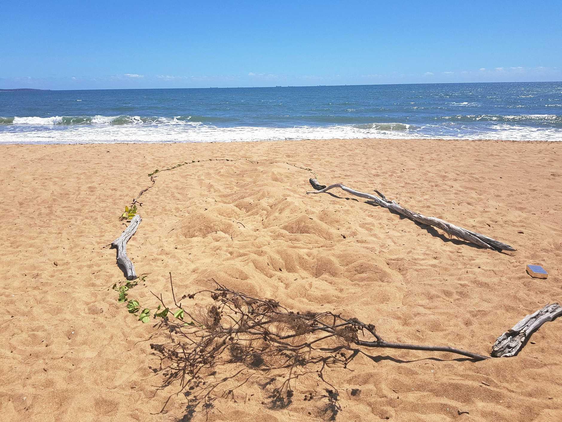 TURTLES TRACKS: evidence of turtles nesting on Tannum Main Beach.