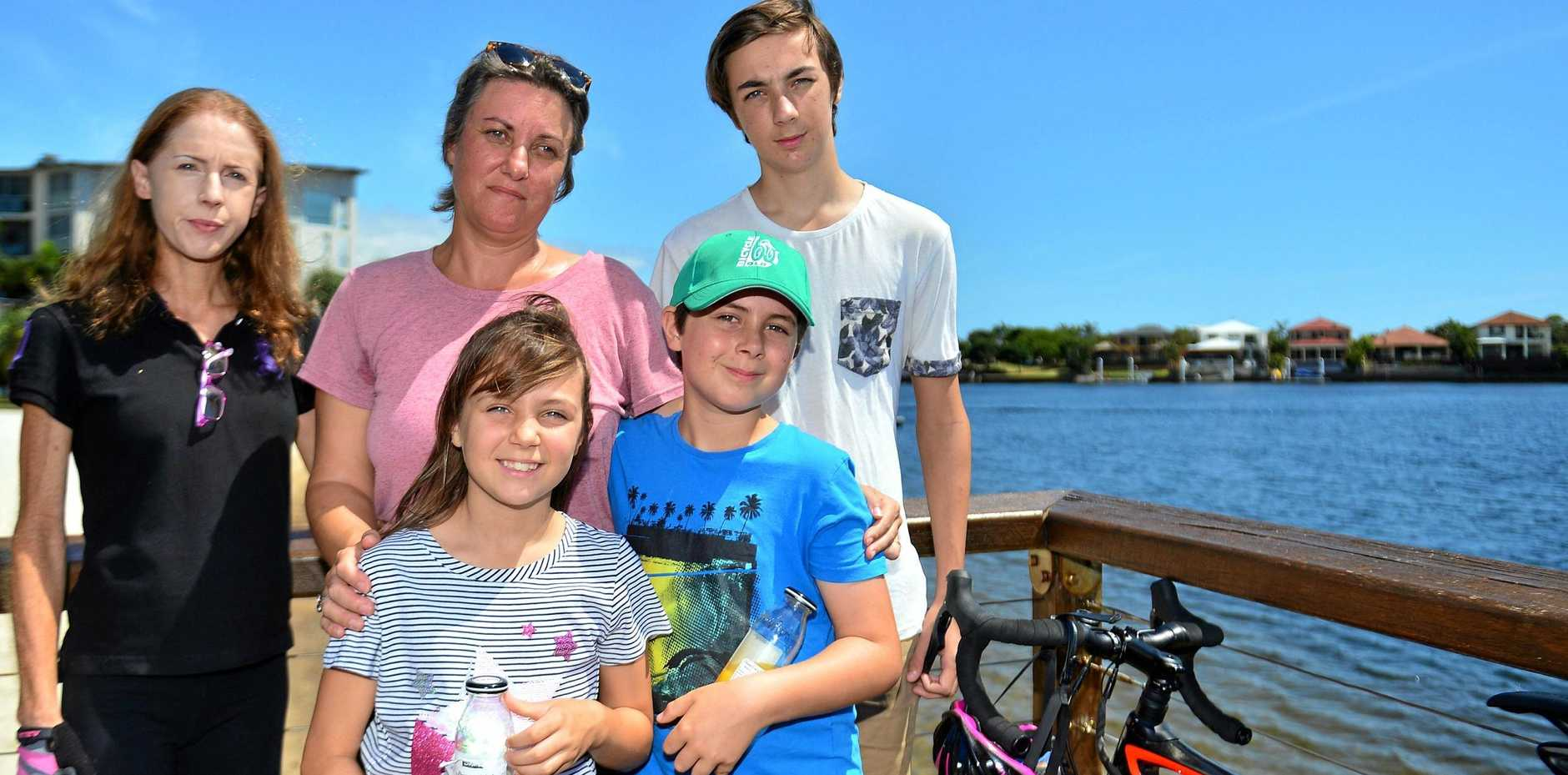 Catherine, Lachlan (15), Oscar (10), Heidi (8) Frewer and Anne Savage CEO Bicycle Queenslandat Kawana for the Memorial Ride for the late Cam Frewer.