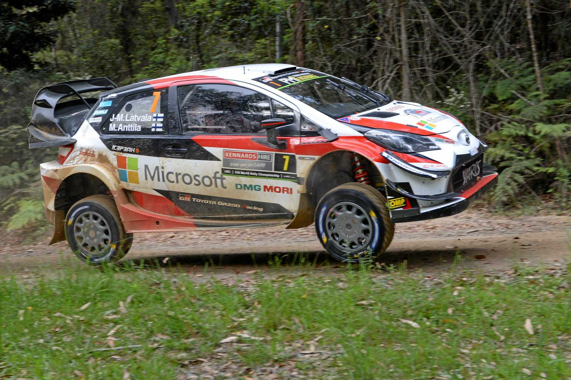 Jari-Matti Latvala on his way to winning Rally Australia in a Toyota Yaris.