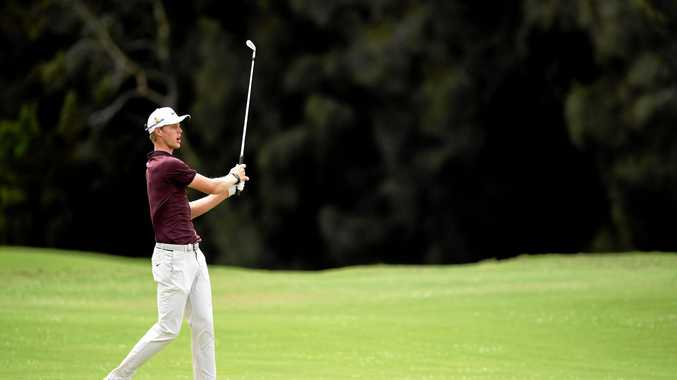 Cameron Davis reacts after playing a shot on the 14th during the third round the Australian Open at The Lakes Golf Club in Sydney. Picture: Dan Himbrechts/AAP