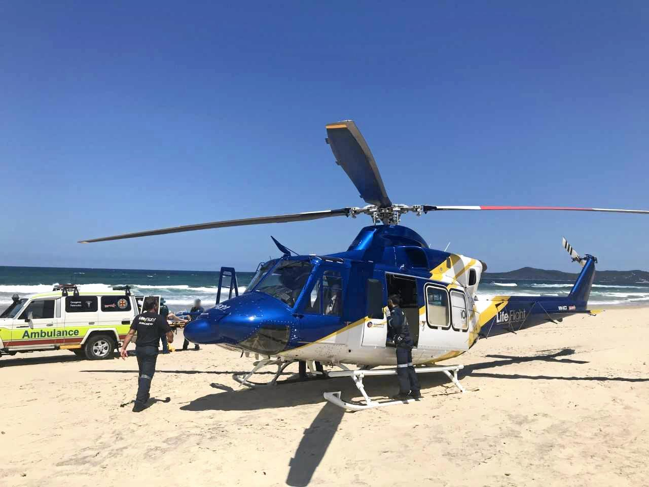NEAR DROWNING: A schoolie has been flown to hospital after he nearly drowned.