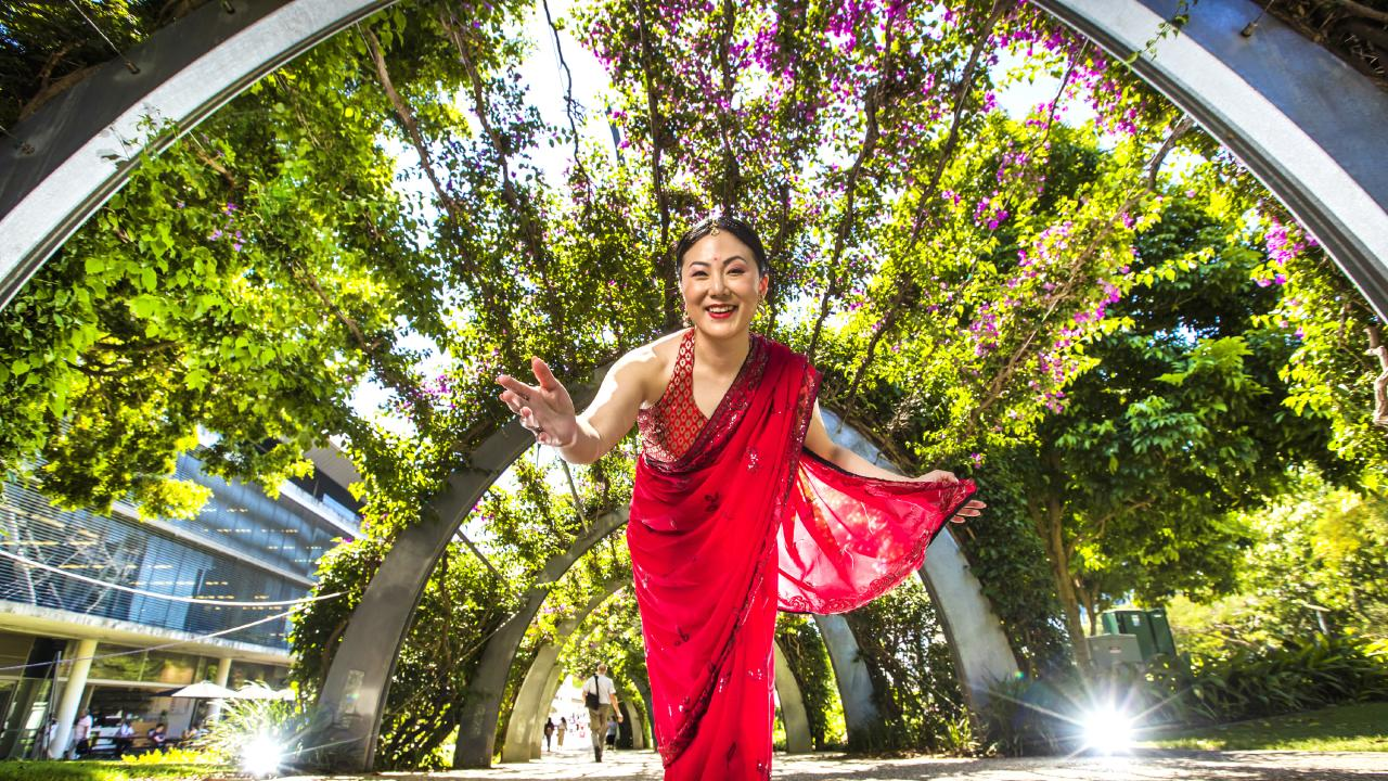 Soprano Eva Kong in her costume for The Flowering Tree pictured at Southbank. Picture: Nigel Hallett
