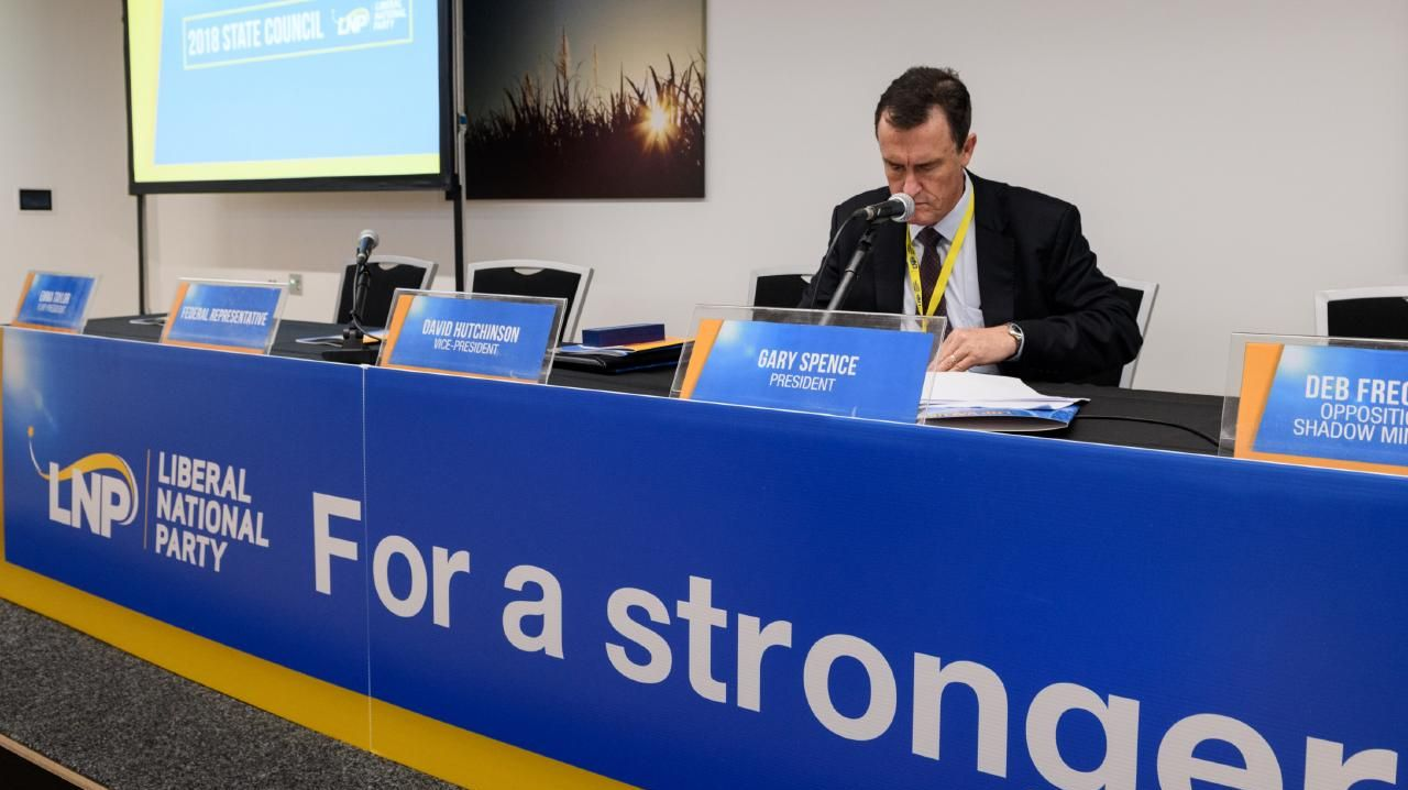 LNP president Gary Spence at the state council in Bundaberg. Picture: Paul Beutel