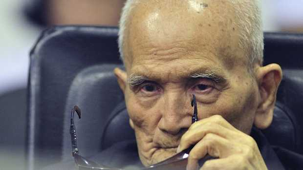 Nuon Chea, who was the Khmer Rouge's chief ideologist and No. 2 leader, was sentenced to life at a U.N.-backed war crimes tribunal in Phnom Penh. Picture: AP