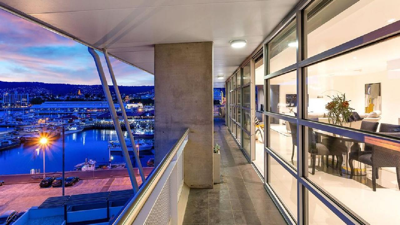The penthouse at 31/15 Hunter St is right on the Hobart riverfront.