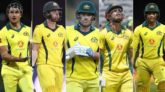 Australia's batsmen have been too defensive (l-R) Marcus Stoinis, Travis Head, Aaron Finch, Chris Lynn and Alex Carey.