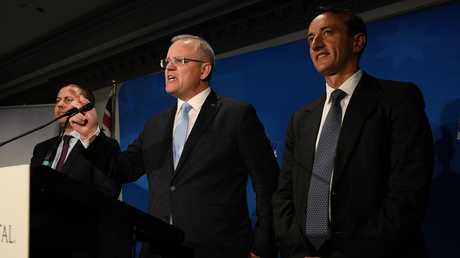 Prime Minister Scott Morrison and Deputy Liberal Leader Josh Frydenberg on the night of the Wentworth by-election with failed candidate Dave Sharma. Picture: AAP