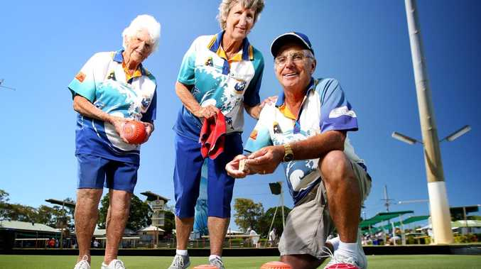 Joan Dunn with Lyn and Mick Cherry at Bongaree, Bribe Island. Picture: AAP/Image Steve Pohlner