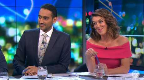 Hosts Waleed Aly and Gorgi Coglan were left stunned by the live TV moment. Picture: Channel 10