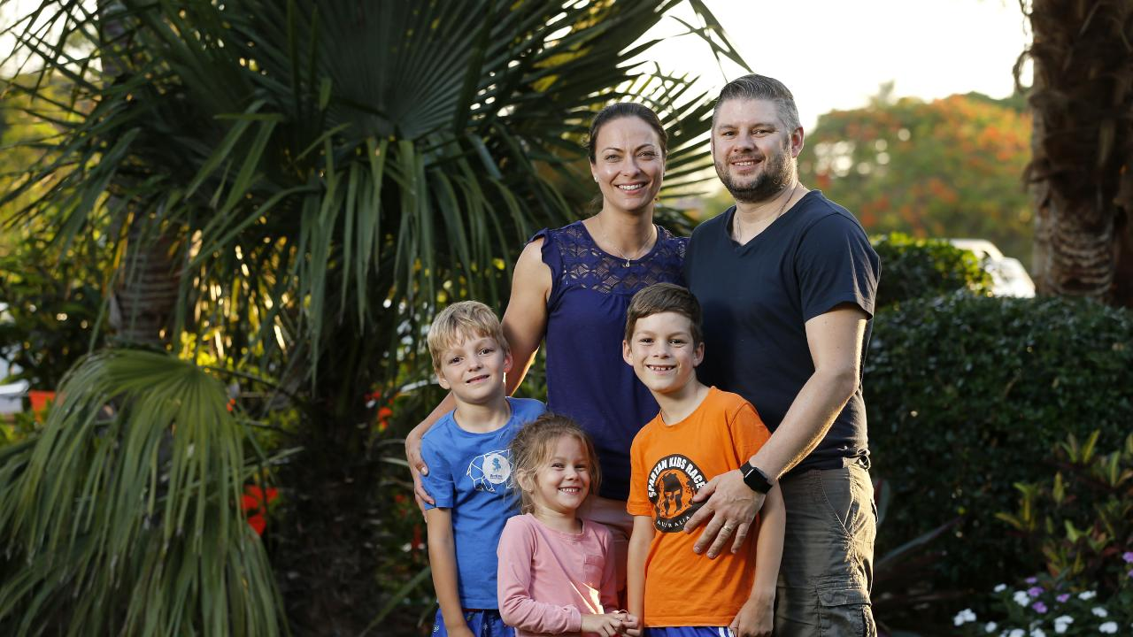 The Kimber family — Alasdair, 6, Autumn, 4, mum Chrystal, Quinlan, 8, and dad Sam. Picture: AAP/Josh Woning
