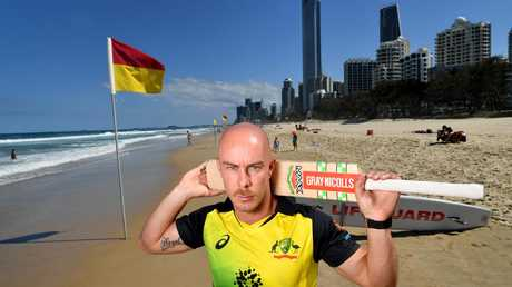 Chris Lynn visits Surfers Paradise ahead of Australia's T20 international against South Africa at Metricon Stadium on Saturday night. Picture: AAP