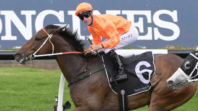 Tommy Berry rides Firsthand to victory the November Handicap at Rosehill on Saturday. Picture: Simon Bullard/AAP