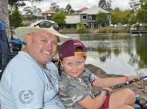 Springfield Lakes fishing day. Paul and Jake Teevan