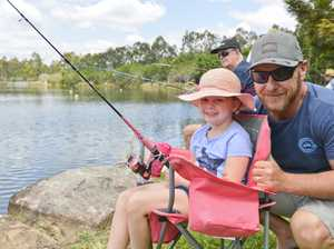 Springfield Lakes fishing day. Felicity, 5, and Tommy