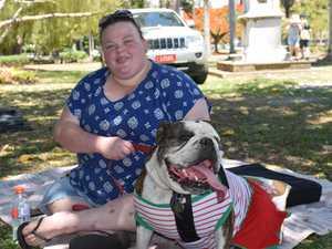 Morgan Gardner with bulldog Frankie.