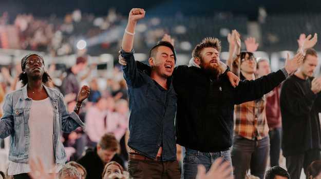 Some of the crowd at Marvel Stadium for the Awakening Australia crusade. Photo: Facebook