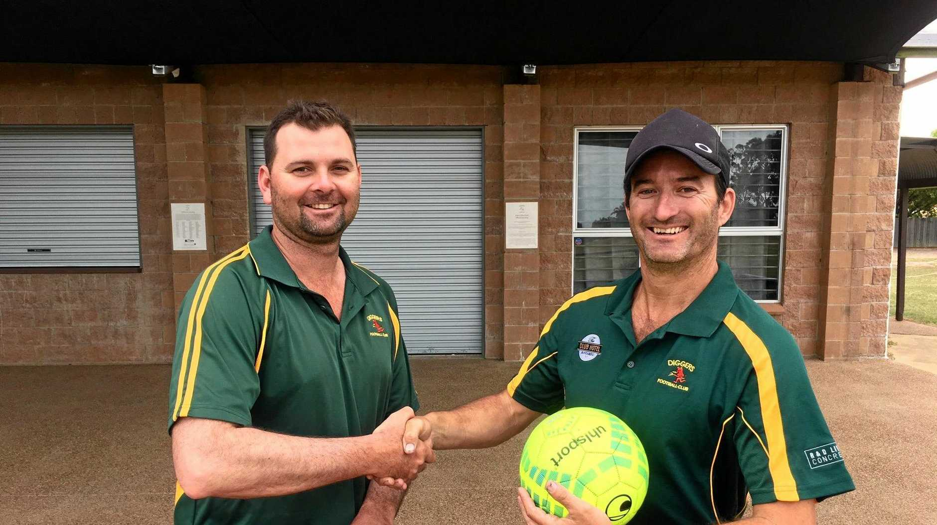 COMIN BACK: Diggers president Andrew Halpin with Todd Bray who will become the Wide Bay League 2 coach as the club moves into the league next year.