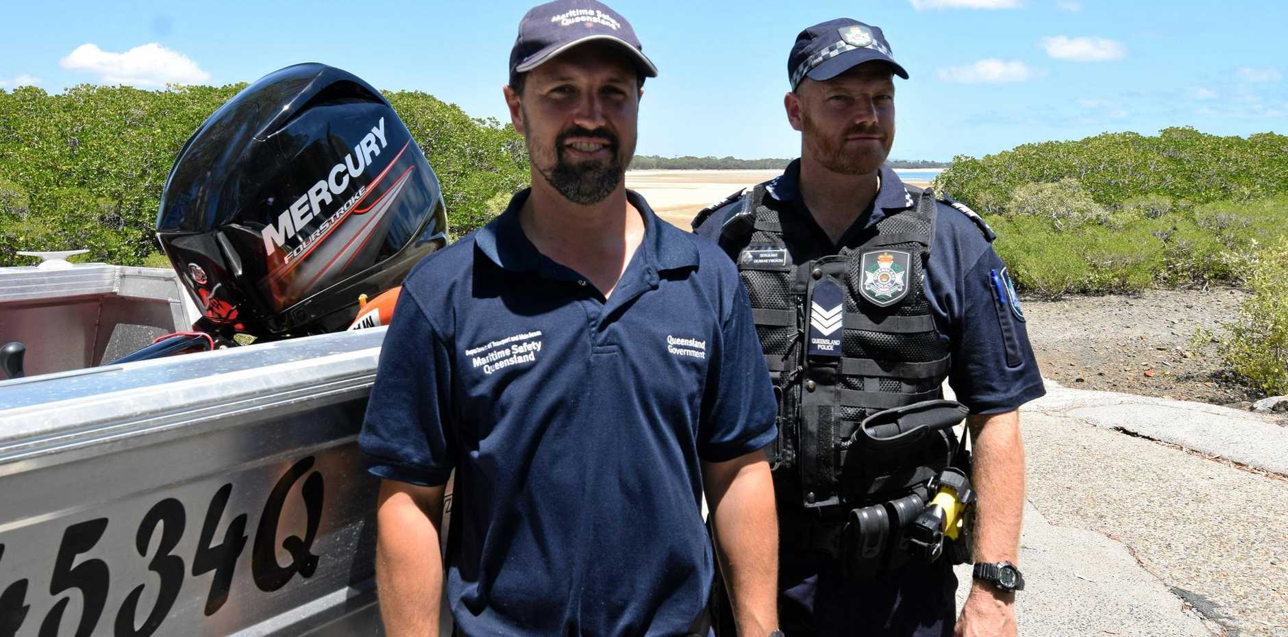 WATER SAFETY: Maritime Officer Nick Vernalls and Sergeant Dean Heyworth are reminding everyone to be careful on the water.